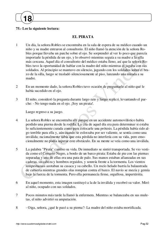 http://www.cuadernosdigitalesvindel.com Pag.52 75.- Lee la siguiente lectura: EL PIRATA 1 Un día, la señora Robles se enco...