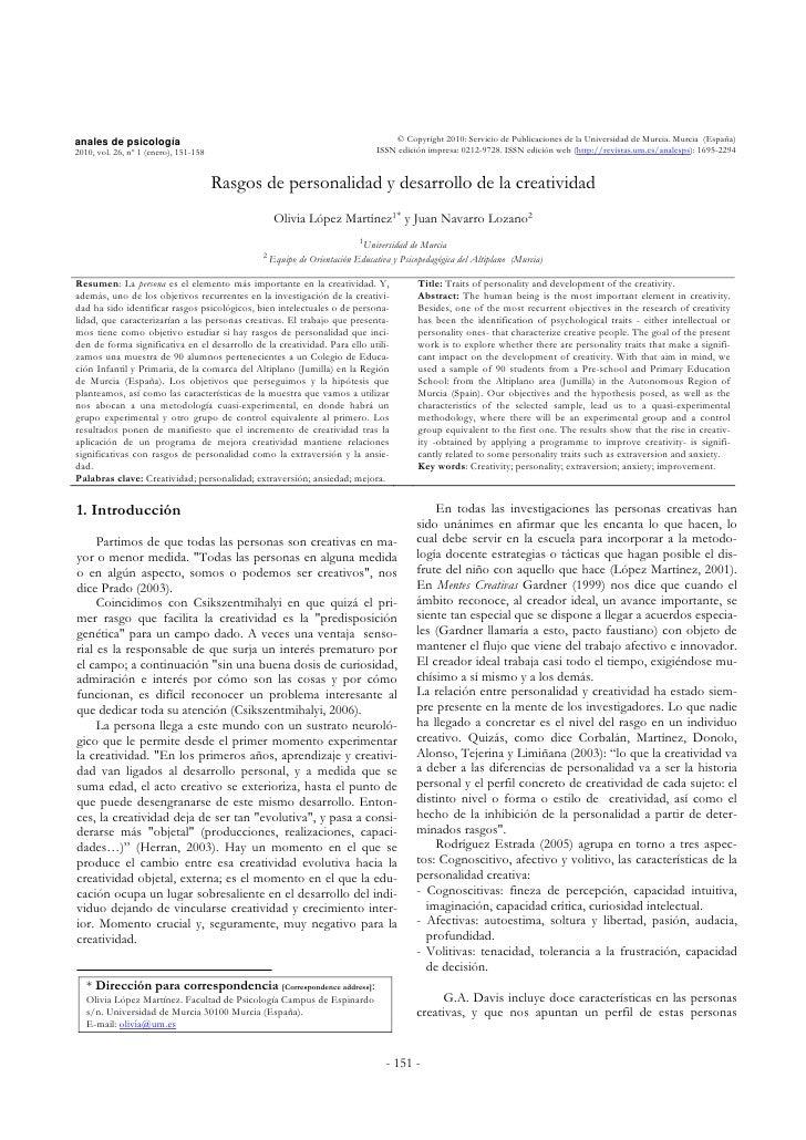 anales de psicología                                                              © Copyright 2010: Servicio de Publicacio...