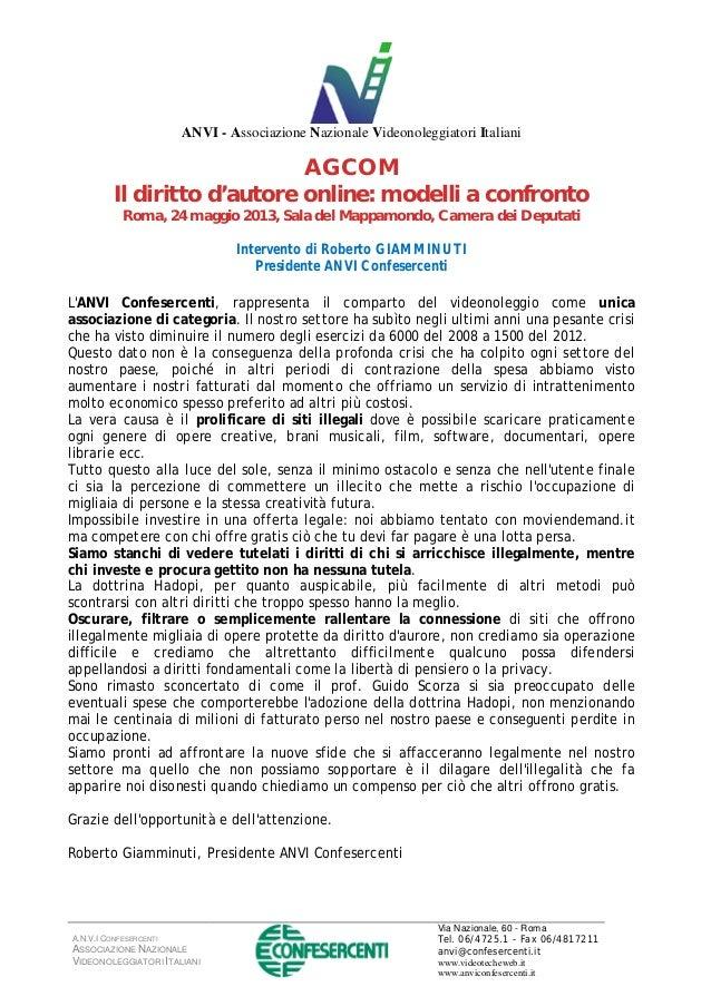 A.N.V.I CONFESERCENTI ASSOCIAZIONE NAZIONALE VIDEONOLEGGIATORI ITALIANI Via Nazionale, 60 - Roma Tel. 06/4725.1 - Fax 06/4...