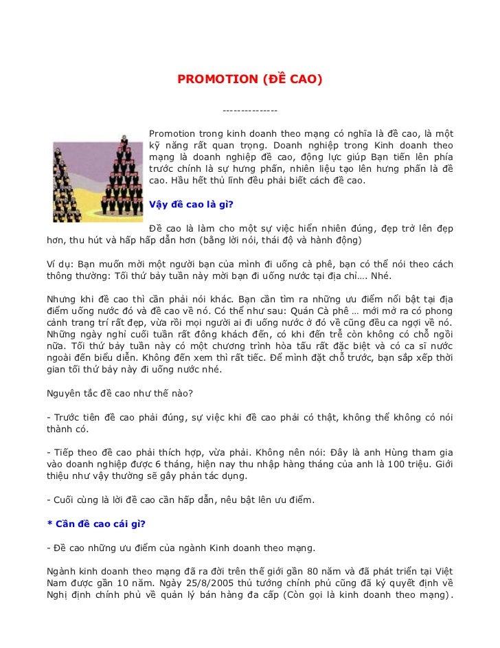 Promotion - Đề Cao