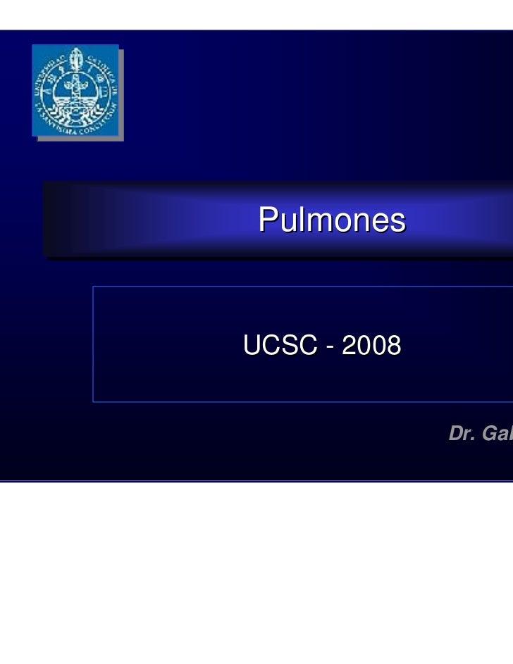 Pulmones PulmonesUCSC - 2008              Dr. Gabriel Astete A.                               1