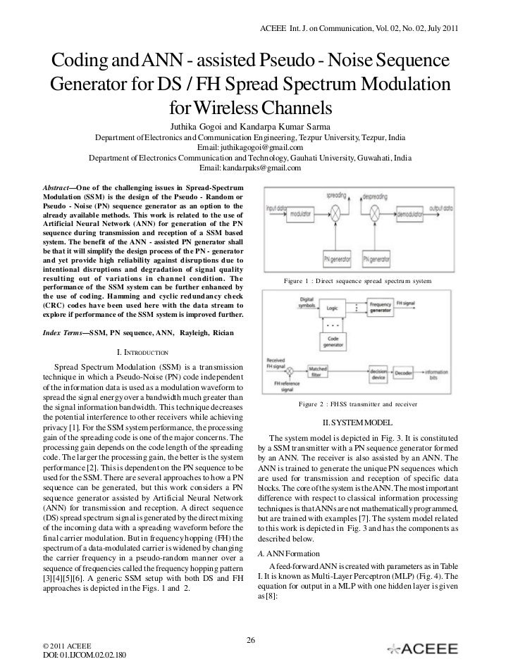 Coding and ANN - assisted Pseudo - Noise Sequence Generator for DS / FH Spread Spectrum Modulation for Wireless Channels