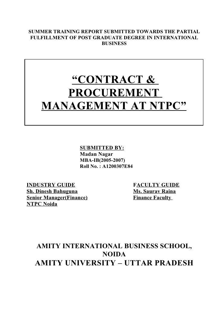 Contract Procurement Management Report of  Ntpc