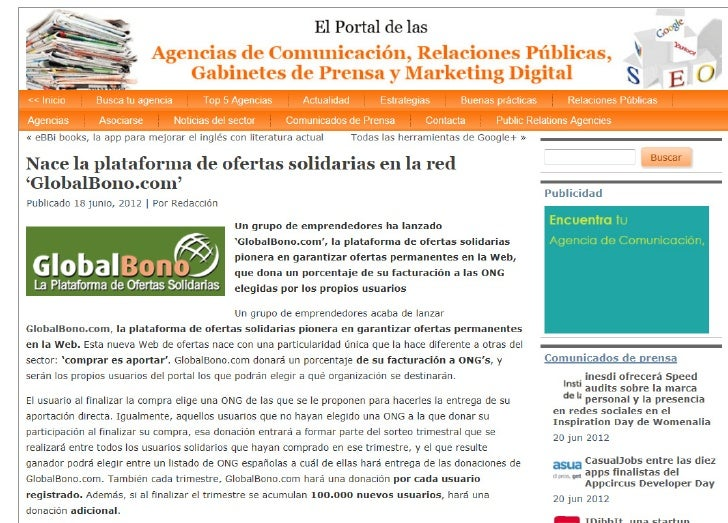 GlobalBono en Portal de las agencias 18 julio 2012