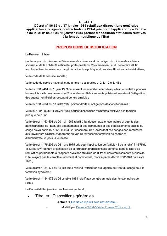 DECRET Décret n° 86-83 du 17 janvier 1986 relatif aux dispositions générales applicables aux agents contractuels de l'Etat...