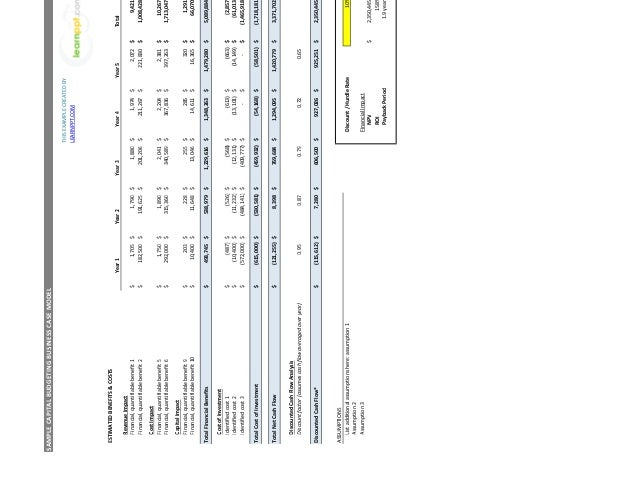 business case excel template