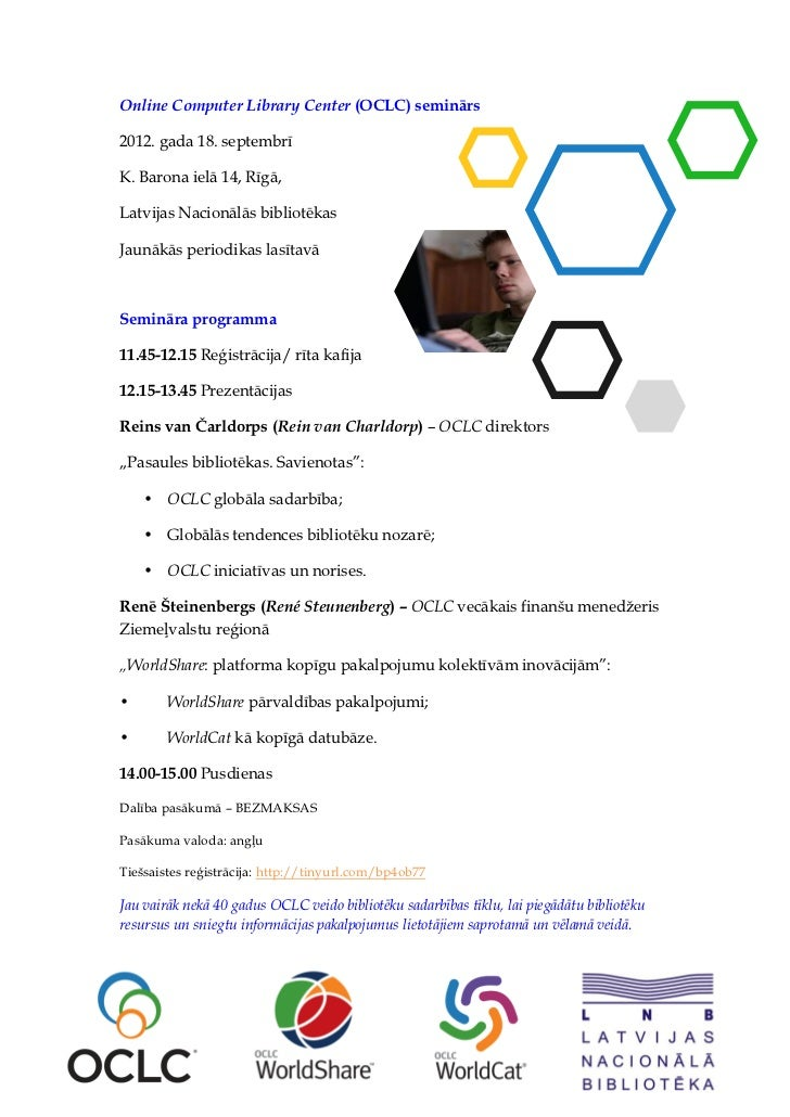 "Semināra ""Online Computer Library Center"" programma (18.09.2012.)"
