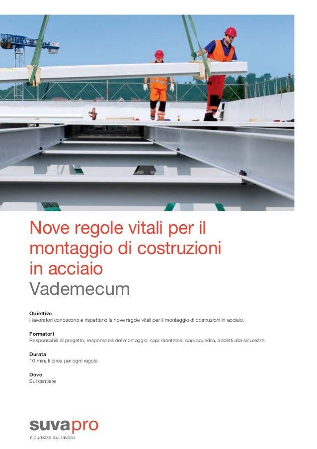 Nove regole vitali per il montaggio di costruzioni in acciaio Vademecum Obiettivo I lavoratori conoscono e rispettano le n...