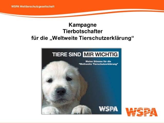 """WSPA Welttierschutzgesellschaft Kampagne Tierbotschafter für die """"Weltweite Tierschutzerklärung"""""""