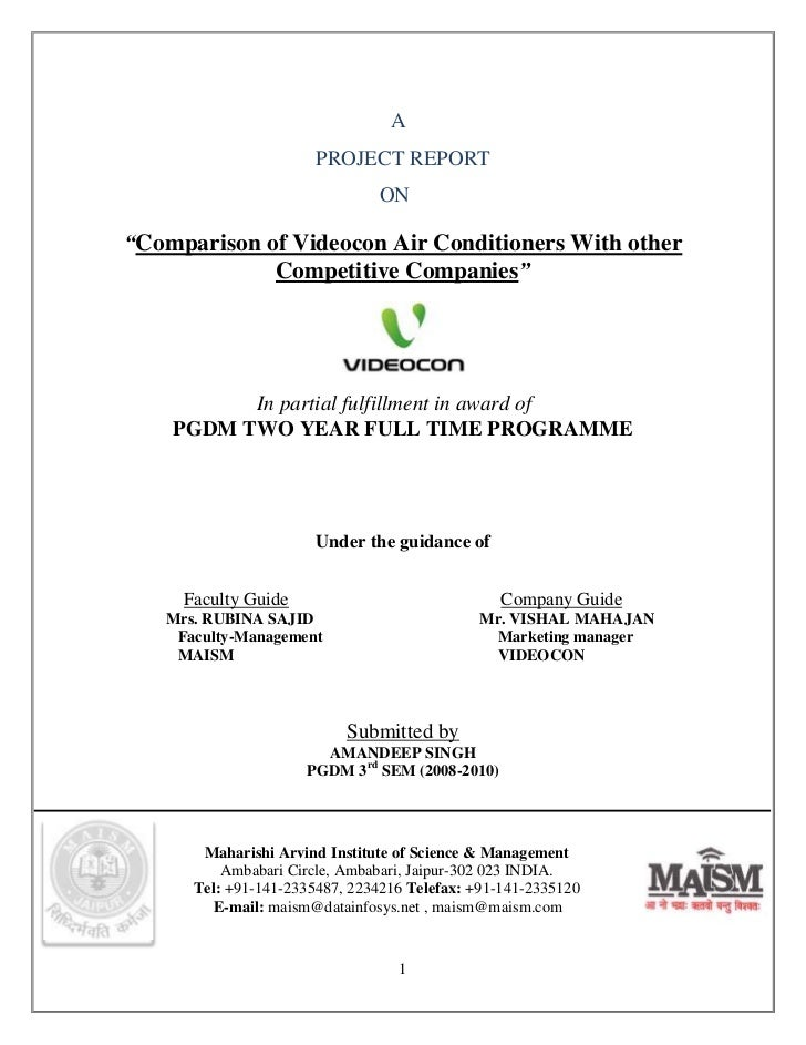 """A                       PROJECT REPORT                               ON""""Comparison of Videocon Air Conditioners With other..."""