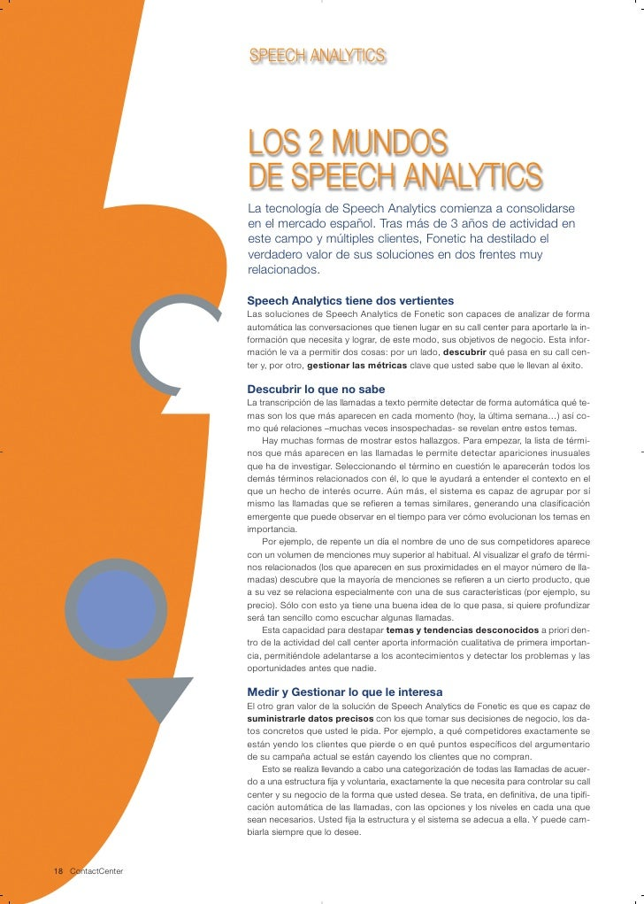 SPEECH ANALYTICS                        LOS 2 MUNDOS                    DE SPEECH ANALYTICS                    La tecnolog...