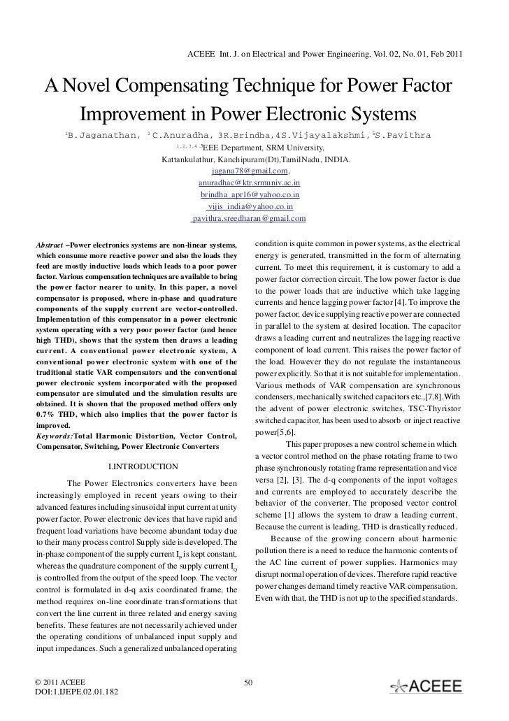 A Novel Compensating Technique for Power Factor Improvement in Power Electronic Systems