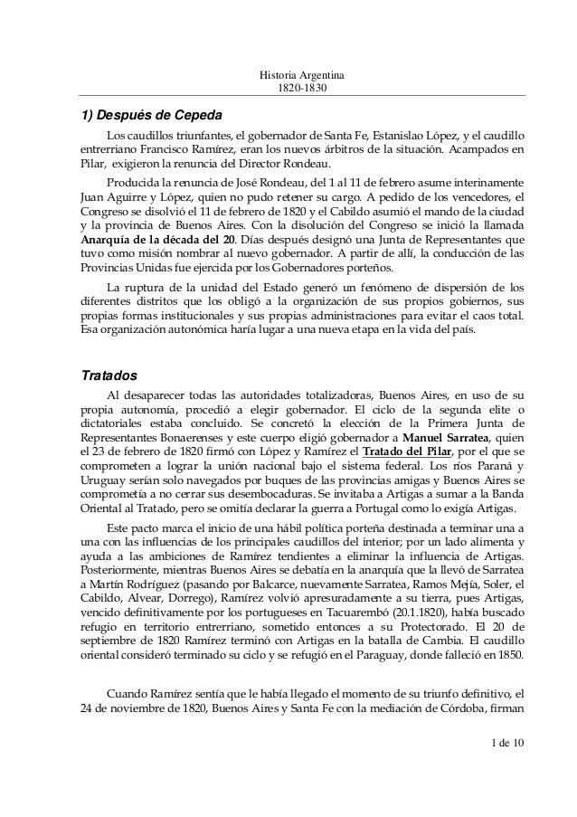 Historia Argentina 1820-1830 1 de 10 1) Después de Cepeda Los caudillos triunfantes, el gobernador de Santa Fe, Estanislao...