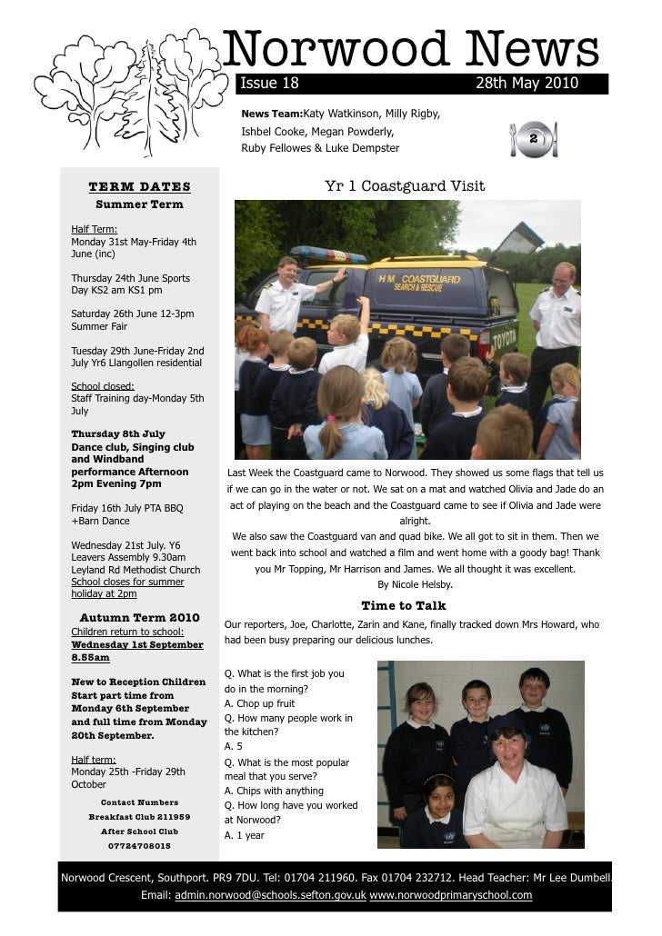 Norwood News                                           Issue 18                                            28th May 2010  ...