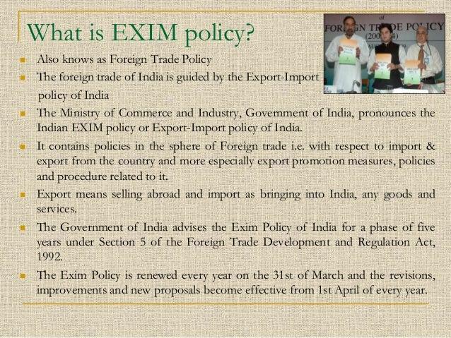 exim policy india analysis