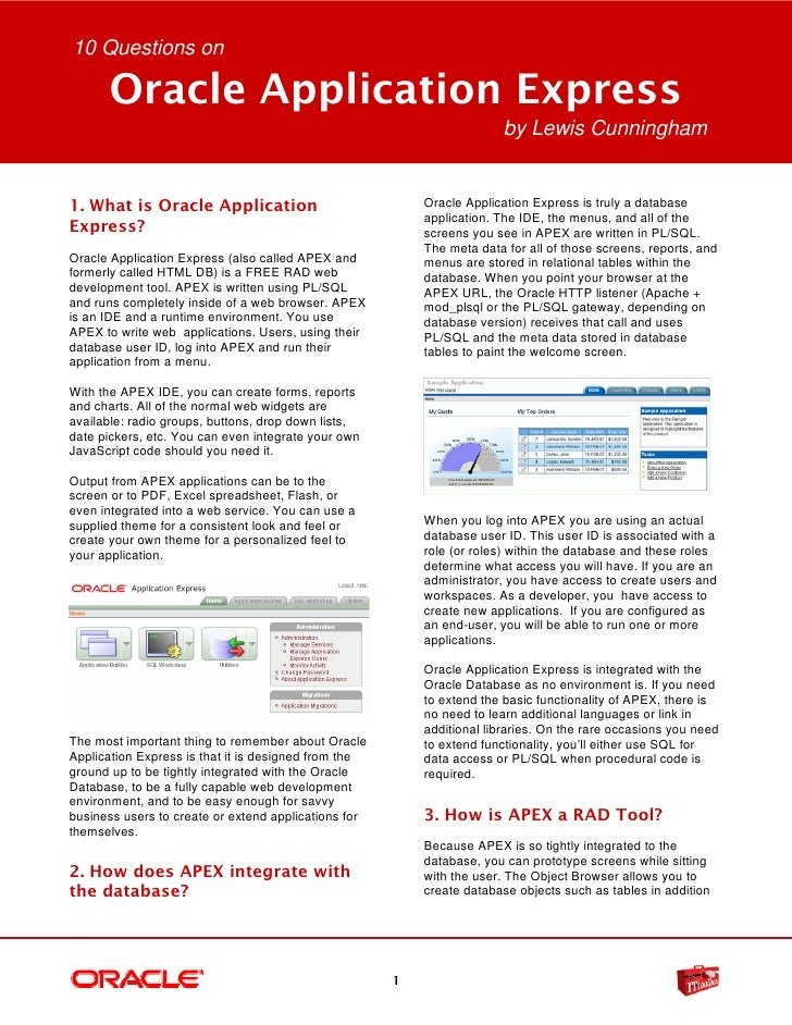10 Questions on      Oracle Application Express                                                                        by ...
