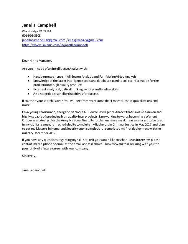 janella campbell all source analyst cover letter