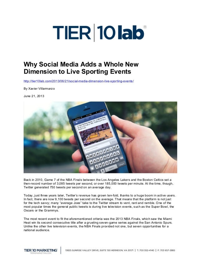 Why Social Media Adds a Whole New Dimension to Live Sporting Events http://tier10lab.com/2013/06/21/social-media-dimensi...