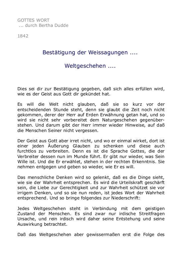 GOTTES WORT ... durch Bertha Dudde 1842  Bestätigung der Weissagungen .... Weltgeschehen ....  Dies sei dir zur Bestätigun...