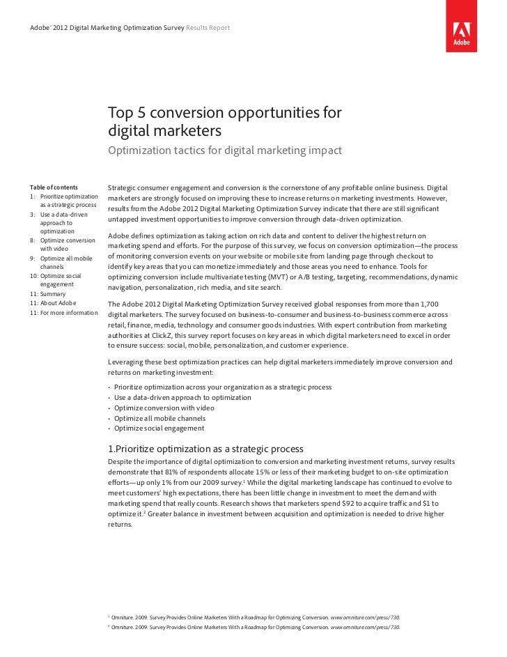 Adobe® 2012 Digital Marketing Optimization Survey Results Report                              Top 5 conversion opportuniti...