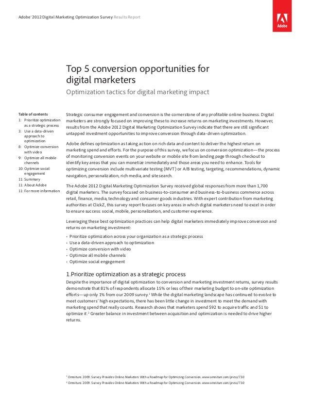 Adobe® 2012 Digital Marketing Optimization Survey