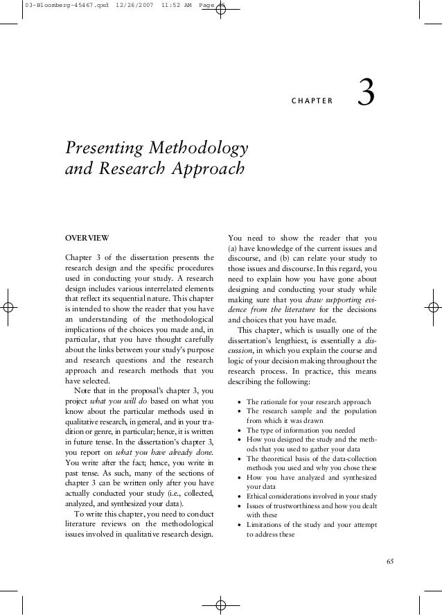 03-Bloomberg-45467.qxd  12/26/2007  11:52 AM  Page 65  CHAPTER  3  Presenting Methodology and Research Approach  OVERVIEW ...