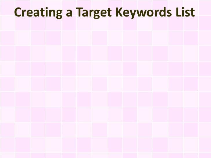 Creating a Target Keywords List