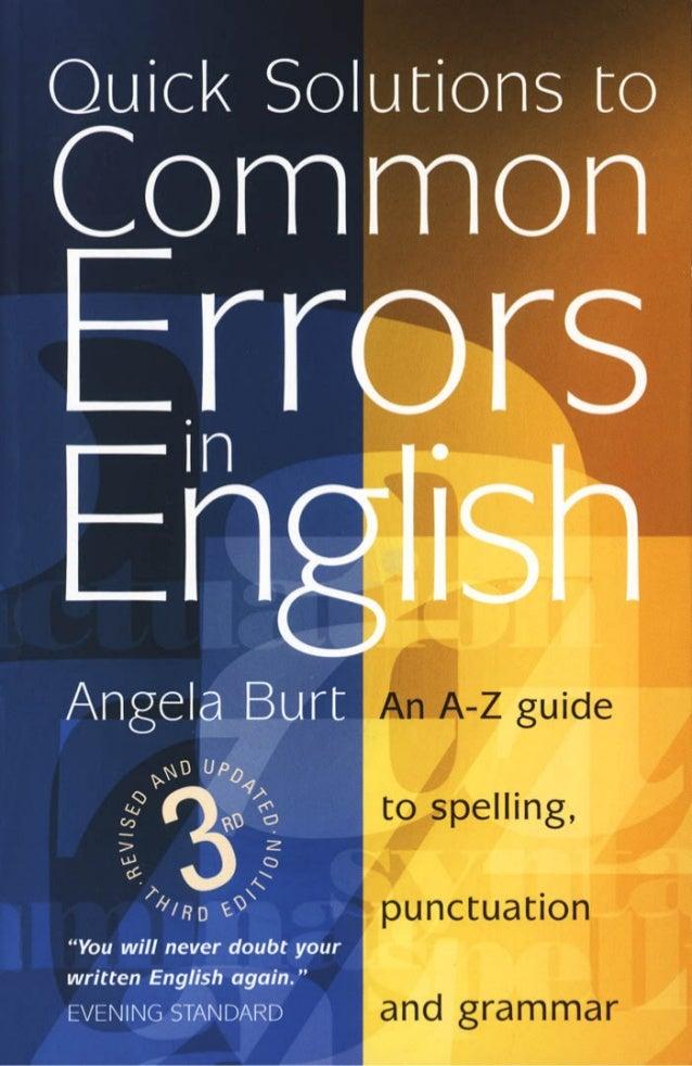 Quick Solutions toCommonErrorsinEnglish