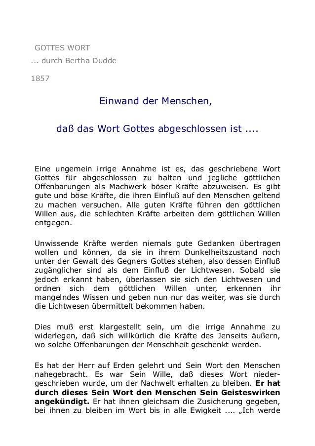 GOTTES WORT ... durch Bertha Dudde 1857  Einwand der Menschen, daß das Wort Gottes abgeschlossen ist ....  Eine ungemein i...