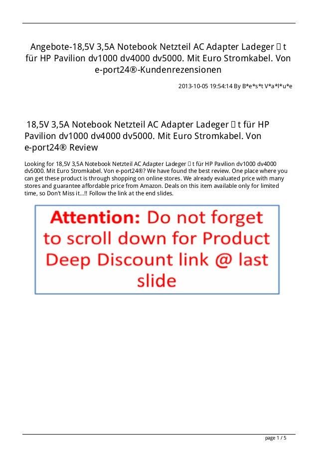 Angebote-18,5V 3,5A Notebook Netzteil AC Adapter Ladegerät für HP Pavilion dv1000 dv4000 dv5000. Mit Euro Stromkabel. Von ...