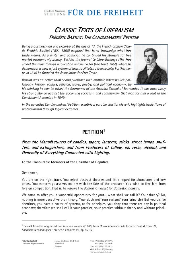 1863 Frédéric Bastiat - The Candle-Makers Petition