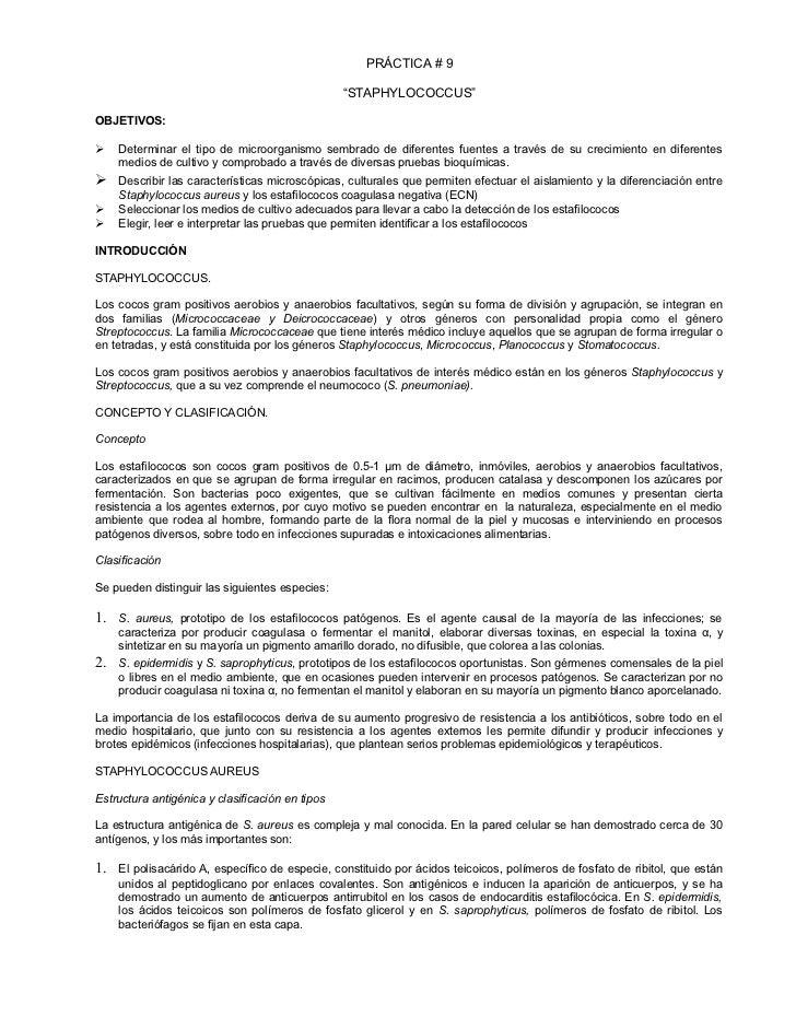 """PRÁCTICA # 9                                                 """"STAPHYLOCOCCUS""""OBJETIVOS:    Determinar el tipo de microorg..."""
