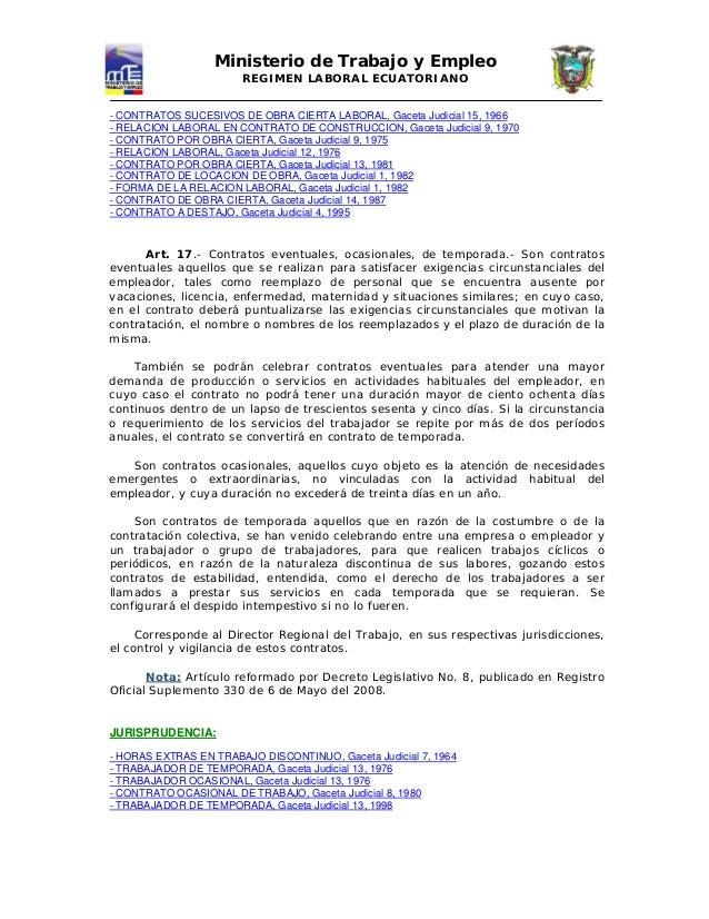 18671394 codigo laboral ecuatoriano ministerio del trabajo On ministerio de trabajo modelos de contratos