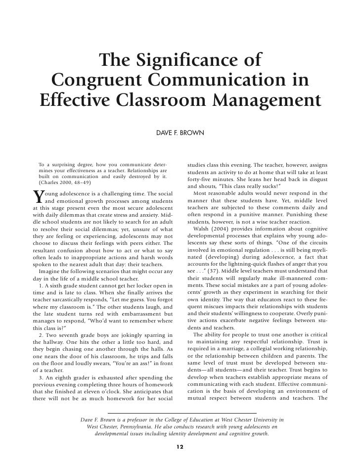 The Significance of Congruent Communication in Effective Classroom Management