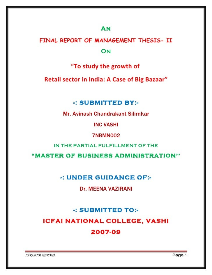"""An        FINAL REPORT OF MANAGEMENT THESIS- II                                On                     """"To study the growth..."""