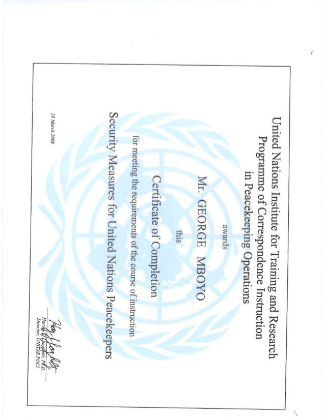 DIFFERENT UN CERTIFICATES & UNIVERSITY DIPLOMA FOR Mr George MBOYO