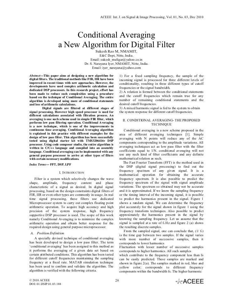 Conditional Averaging a New Algorithm for Digital Filter