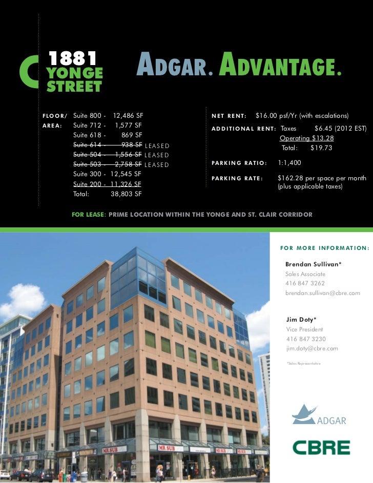 1881 YONGE                              ADGAR . ADVANTAGE . STREETF LO O R /   Suite 800   - 12,486 SF               N E T...