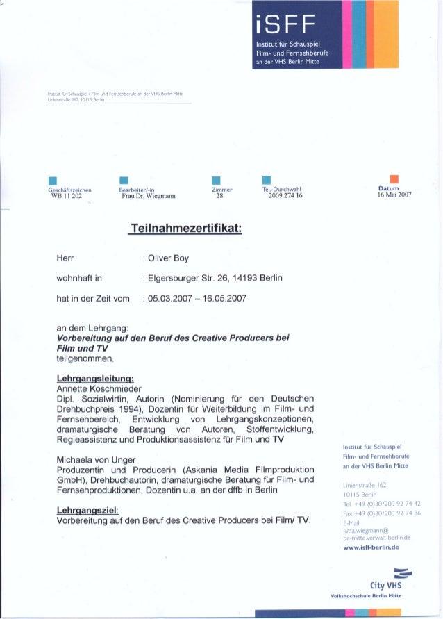 Teilnahmebescheinigung iSFF