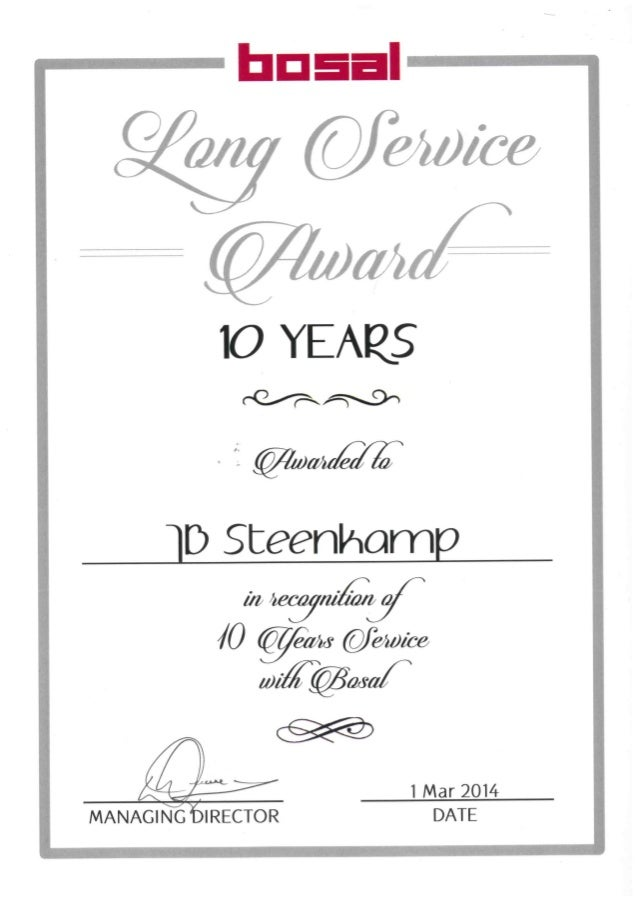 10 years long service award for Long service certificate template sample