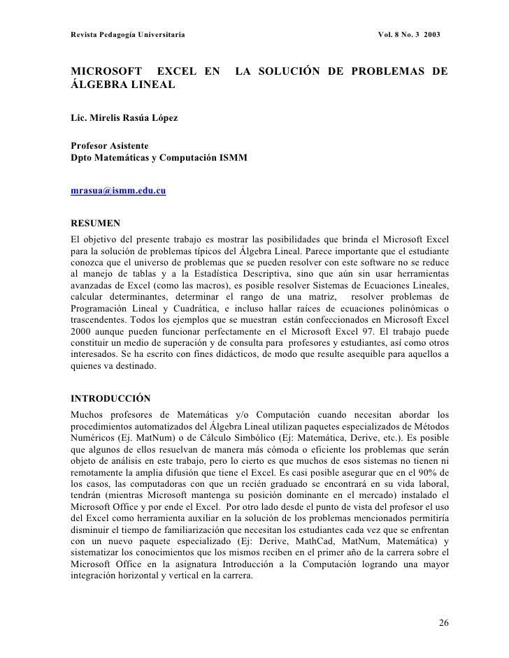 Revista Pedagogía Universitaria                                              Vol. 8 No. 3 2003    MICROSOFT EXCEL EN      ...
