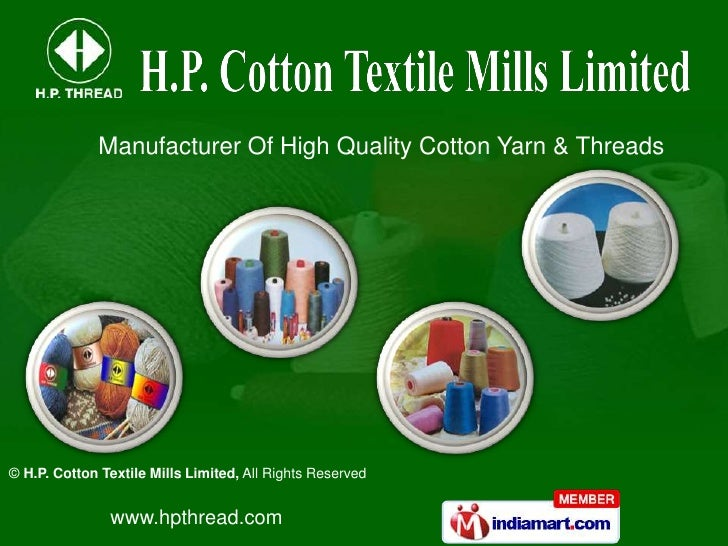 Gazed & Mercerized Yarns by H. P. Cotton Textile Mills Limited New Delhi
