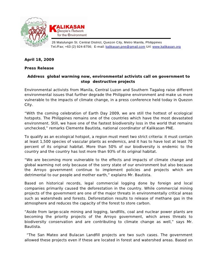 18april 2009 Pr Environmentalists Call On Govt To Stop Destructive Projects