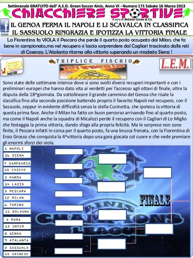 Settimanale GRATUITO dell A.S.D. Green Soccer Ainis. Anno VI - Numero 171 Sabato 16 Marzo 2013                            ...