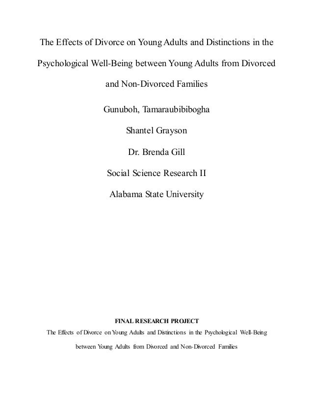 the effects of divorce on young Some of the most common impacts of divorce on young adults include an impact on their psychological adjustments, appropriate social abilities, academic achievements and even behaviors- effects that can persist in the course of adulthood according to another study (knox, zusman & decuzzi.