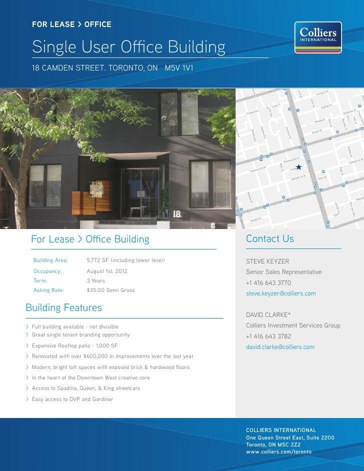 FOR lease > OFFICE  Single User Office Building  18 camden street. toronto, on m5v 1v1  For Lease > Office Building       ...