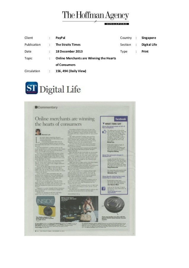 Client  :  PayPal  Country  :  Singapore  Publication  :  The Straits Times  Section  :  Digital Life  Date  :  18 Decembe...