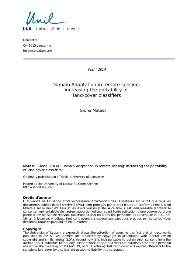 Unicentre  CH-1015 Lausanne  http://serval.unil.ch  Year : 2014  Domain Adaptation in remote sensing:  increasing the port...