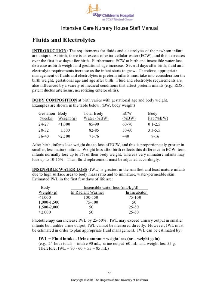Intensive Care Nursery House Staff ManualFluids and ElectrolytesINTRODUCTION: The requirements for fluids and electrolytes...