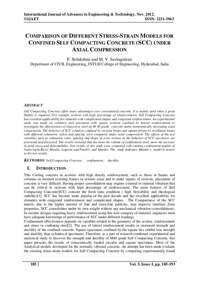 COMPARISON OF DIFFERENT STRESS-STRAIN MODELS FOR CONFINED SELF COMPACTING CONCRETE (SCC) UNDER AXIAL COMPRESSION